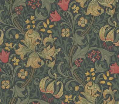 Golden Lily By Morris Red Cream Dark Green Wallpaper 210403
