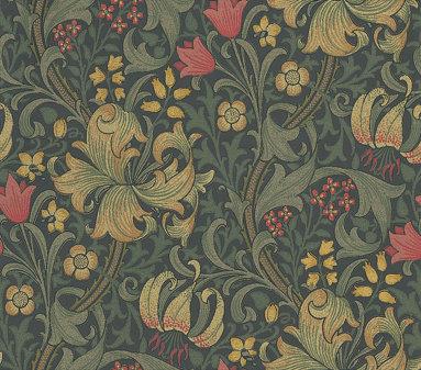 Morris Golden Lily Red / Cream / Dark Green Wallpaper - Product code: 210403