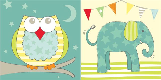 Arthouse Owl & Elephant printed canvases Art - Product code: 002089