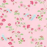 Coordonne Bird Branches Pink Wallpaper