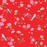 Coordonne Bird Branches Red Wallpaper