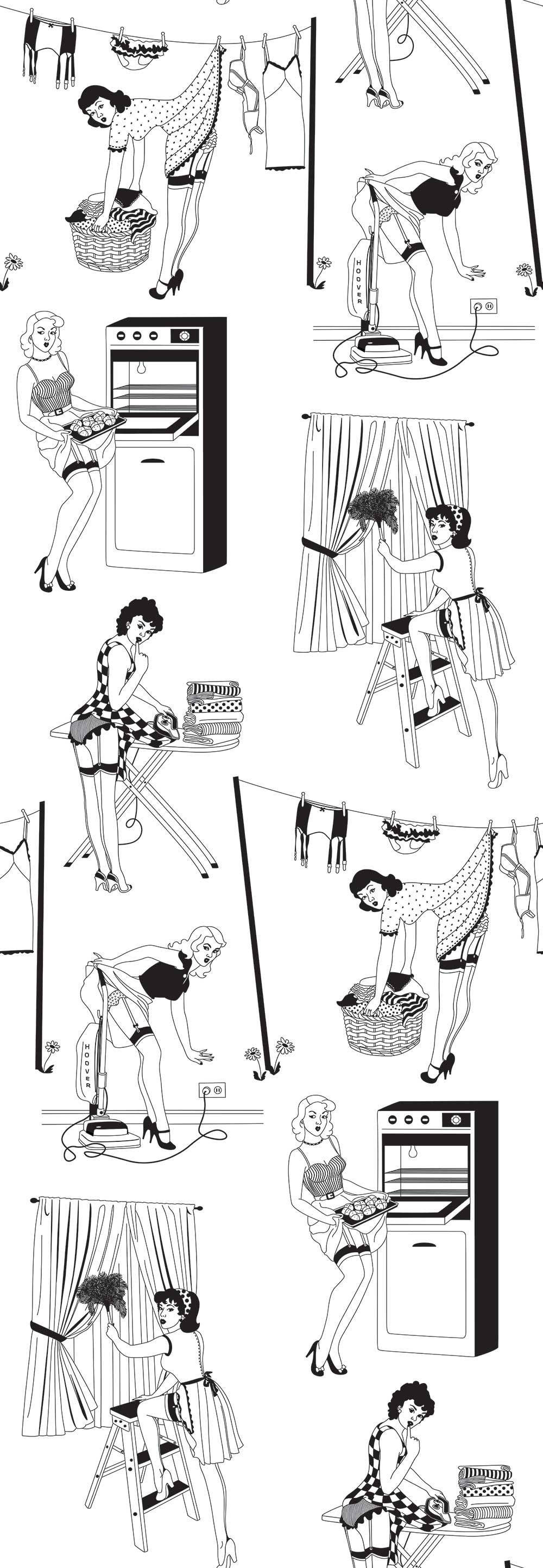 Dupenny 50's Housewife (Half Scale) Black / White Wallpaper - Product code: 50s HOUSEWIFE