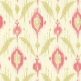 Thibaut Island Ikat Pink / Green Wallpaper