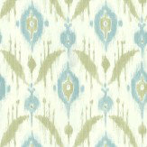Thibaut Island Ikat Blue / Green Wallpaper