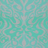 Cole & Son Woodstock Aqua / Metallic Silver Wallpaper - Product code: 69/7128