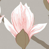 Cole & Son Magnolia Pink / Metallic Silver Wallpaper