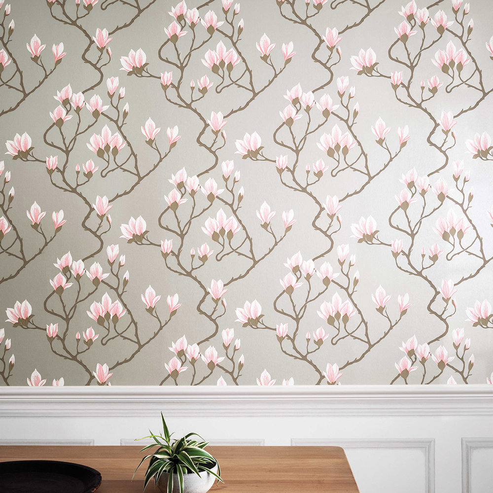 Cole & Son Magnolia Pink / Metallic Silver Wallpaper - Product code: 72/3010