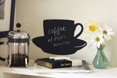 Image of Creative Wall Art Stickers Chalkboard Cup and Saucer, 16023