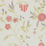 Harlequin Ophelia Coral / Green / Off White Wallpaper
