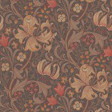 Morris Golden Lily Red / Brown Wallpaper - Product code: 210402