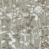 Clarissa Hulse Nettles Gunmetal / White / Metallic Silver Wallpaper