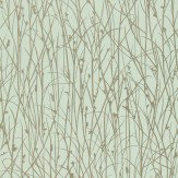 Clarissa Hulse Grasses Metallic Silver / Duck Egg Green Wallpaper - Product code: 110152