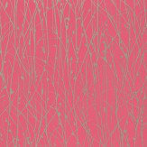 Clarissa Hulse Grasses Metallic Silver / Hot Pink Wallpaper