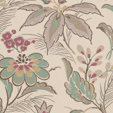 Nina Campbell Montacute Grape / Aqua Wallpaper