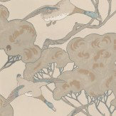 Mulberry Home Flying Ducks Silver / Taupe Wallpaper