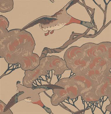 Mulberry Home Flying Ducks Pale Brown / Stone Wallpaper main image