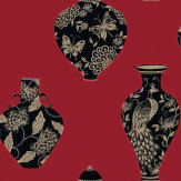 Opus Muras 44 Bedford Square Black / Gold / Red Wallpaper