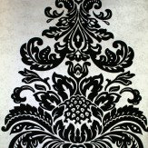 Kandola Damask Flocked Wallpaper crystallised Metallic Silver / Black