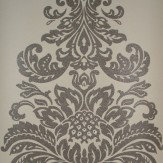 Kandola Damask Beaded Wallpaper crystallised Silver / Cream