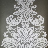 Kandola Damask Beaded Wallpaper crystallised Silver / Midnight Grey