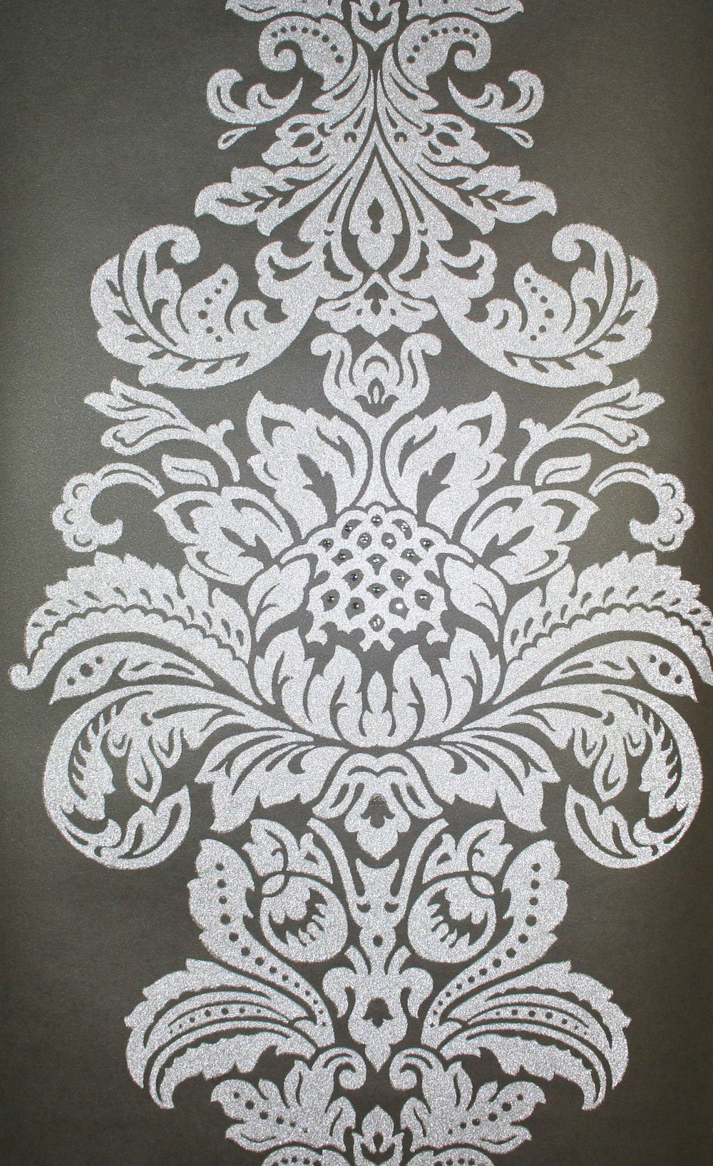 damask beaded wallpaper crystallised by kandola silver