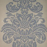 Kandola Damask Wallpaper crystallised Blue / Cream