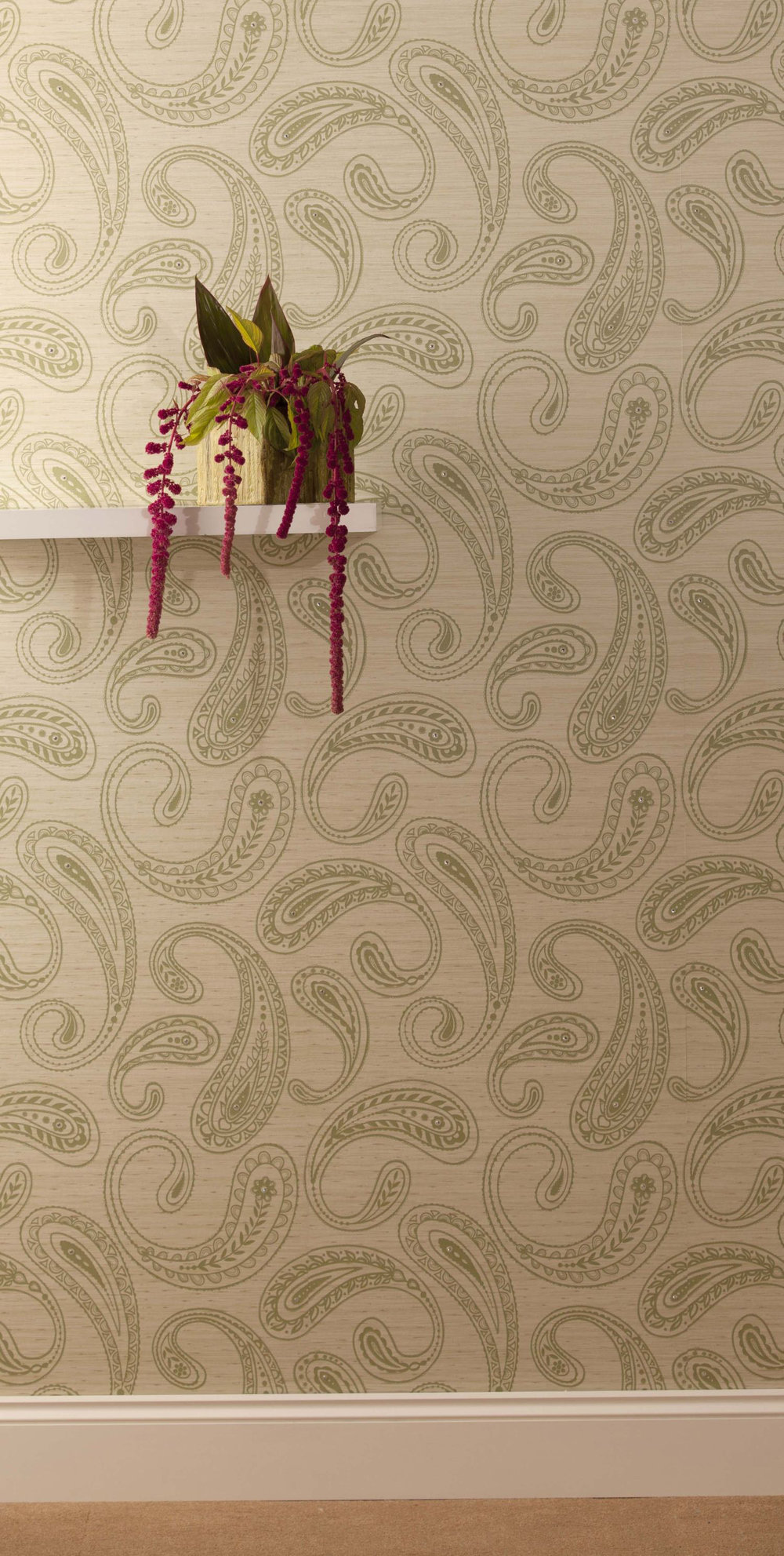 Paisley Wallpaper crystallised - Green / Silver - by Kandola