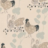 Belynda Sharples Chickens Blue / Black / Beige Wallpaper