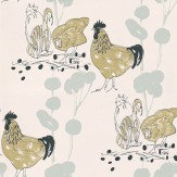 Belynda Sharples Chickens Blue / Black / Green Wallpaper