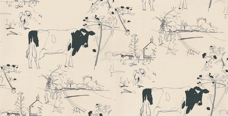 Countryside Toile by Belynda Sharples - Blue / Off White : Wallpaper ...