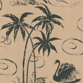 Belynda Sharples Tropical Swan Black / Mocha Wallpaper