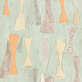 Belynda Sharples Vase Orange / Yellow / Grey / Duck Egg Wallpaper - Product code: AOW-VAS-01