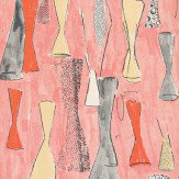 Belynda Sharples Vase Orange / Yellow / Grey / Rose Pink Wallpaper