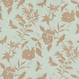 Thibaut April Aqua / Gold Wallpaper