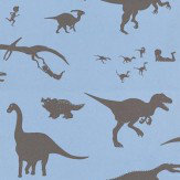 PaperBoy D'ya-think-e-saurus Blue Blue / Brown Wallpaper