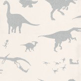 PaperBoy D'ya-think-e-saurus White / Silver Wallpaper - Product code: DTES White