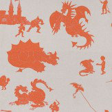 PaperBoy Ere-be-dragons Taupe Orange / Taupe Wallpaper