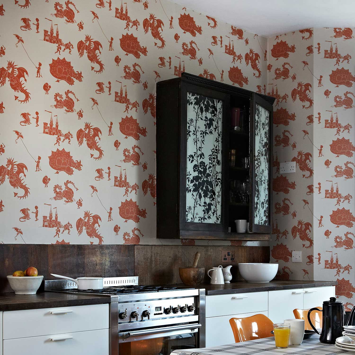 Ere-be-dragons Taupe Wallpaper - Orange / Taupe - by PaperBoy