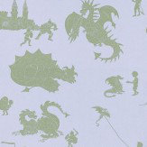 PaperBoy Ere-be-dragons Grey Green / Grey Lilac Wallpaper - Product code: EBD Grey