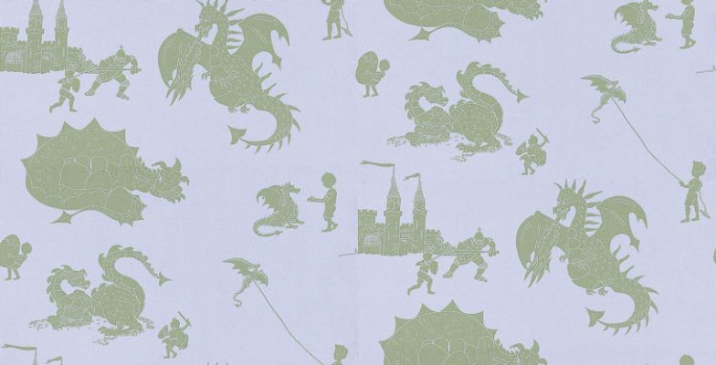 Image of PaperBoy Wallpapers Ere-be-dragons Grey, EBD Grey