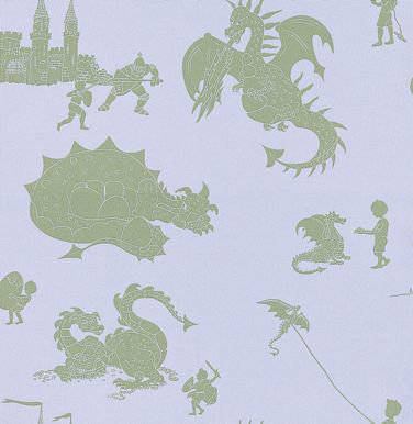 PaperBoy Ere-be-dragons Grey Green / Grey Lilac Wallpaper main image