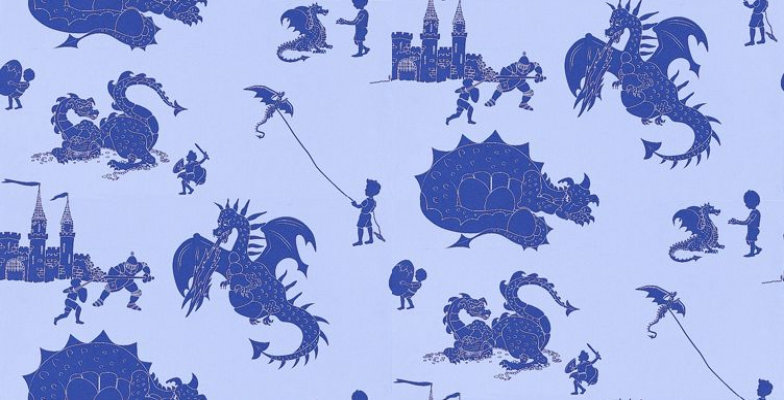Image of PaperBoy Wallpapers Ere-be-dragons Blue, EBD Blue