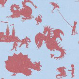 PaperBoy Ere-be-dragons Red Red / Blue Wallpaper