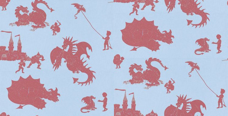 Image of PaperBoy Wallpapers Ere-be-dragons Red, EBD Red