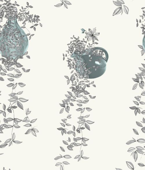 Traily plant grey by louise body grey blue cream for Grey and cream wallpaper