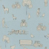 Katie Bourne Interiors Cluck a Doodle Farm  Pale Grey / Soft Blue Wallpaper - Product code: 2B Cluck
