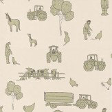 Katie Bourne Interiors Cluck a Doodle Farm  Green / Cream Wallpaper
