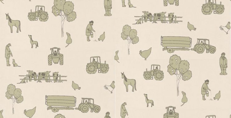 Image of Katie Bourne Interiors Wallpapers Cluck a Doodle Farm , 6D Cluck