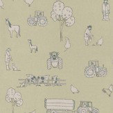 Katie Bourne Interiors Cluck a Doodle Farm  Pale Grey / Soft Green Wallpaper - Product code: 4F Cluck
