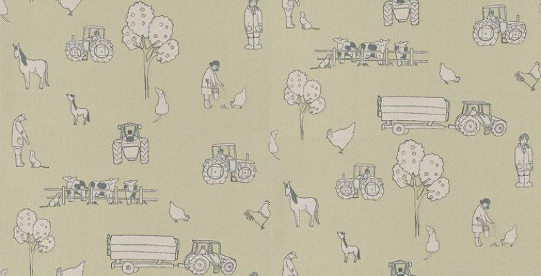 Image of Katie Bourne Interiors Wallpapers Cluck a Doodle Farm , 4F Cluck